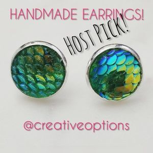 Jewelry - ✴3 for $15 Green Mermaid Scale Stud Earrings